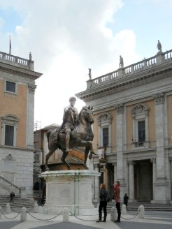 This statue was miss-identified by the middle ages as Constantine (the first christian emperor) and so was preserved from being melted down for scrap. It turned out later to be that of Marcus Aurelius but by the time they figure that out they had come around on the Roman emperors as historical figures ans forgiven them for their christian-killing habits. So now it sits in the center of the Campidoglio.