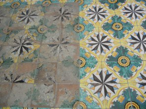 Original and copied tiles from the dining hall of the monastery.