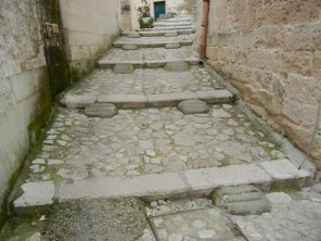 Concessions to modern access - cars can drive on these stair stepped streets.