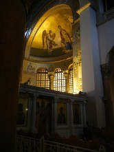 I arrived at the church at 5 on a friday as people were gathering for prayer. There was no organized service but people cued up to cross themselves before and kiss the hands of many of the mosaid and frescod saints on the walls