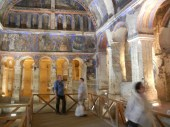 This shows the more detailed color fresco style. This is also the largest of the rock-cut churches I visited.