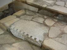 The museum hasn't scrupled to use bits of roman building as stair treads.