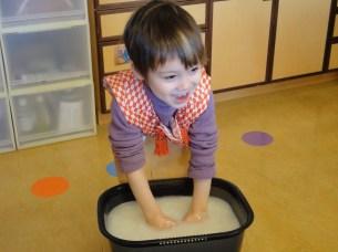 Washing the rice