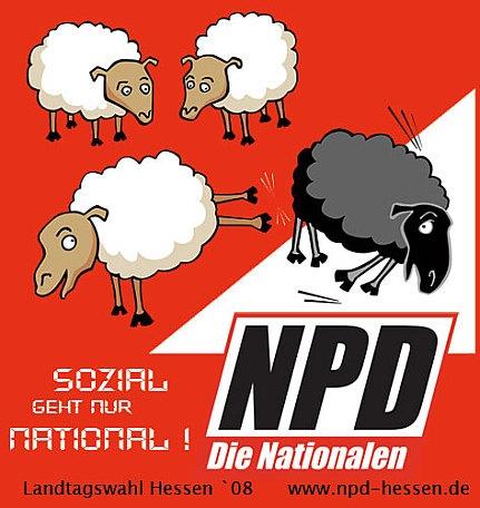 «Le social rime uniquement avec national». Affiche du NPD (extrême droite allemande)