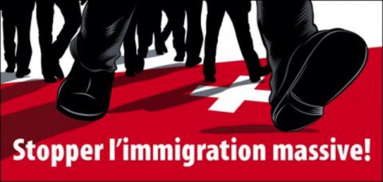 Affiche de l'UDC pour la récolte de signatures en faveur de l'initiative «Stopper l'immigration massive!» en 2011.