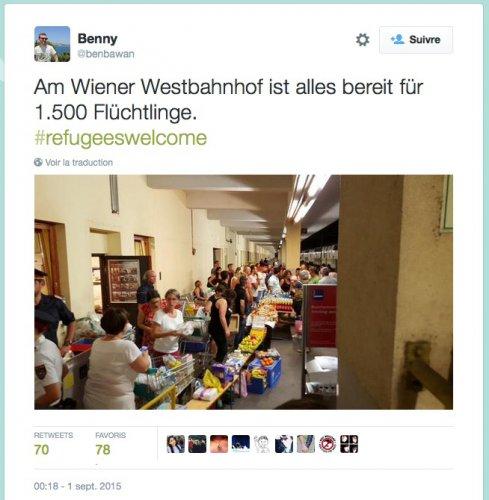 Accueil des réfugiés syriens à Vienne. Vu sur Twitter.