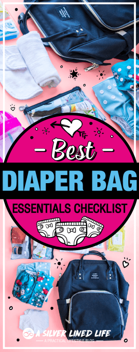 Best Diaper Bag Essentials Checklist: whether you choose a stylish backpack or a cute purse for your diaper bag, this list has all the organization you need from newborn baby to infant, toddler, children, cloth diaper needs, disposable diapers, breastfeeding or formula etc. No matter if you are a new mom or an experienced mom looking for twins, these packing lists are solid for your daily travel. #SLL