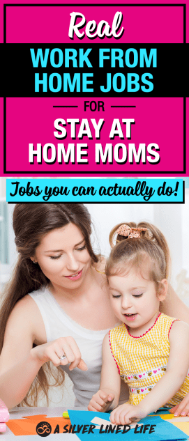 Stay at home mom jobs where you can extra money from home. The ULTIMATE list of ideas for work from home jobs for moms. These are real jobs you can actually do, make good money and stay at home with your babies. #SLL #SAHM #workfromhome