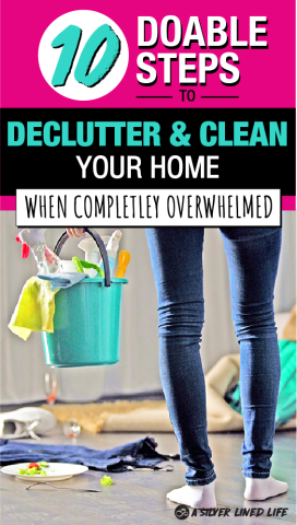 Declutter And Organize Your Home When Completely Overwhelmed By Mess! This checklist will help you clean your home room by room. Know where to start with these cleaning hacks. Download a schedule customized just for you that is doable and doesn't take up your day! #clean #declutter #organize #cleanandorganize #cleaningtips #declutteringideas #feelingoverwhelmed #minimalism #bedroom #tips #organizing #clutterfree #SLL