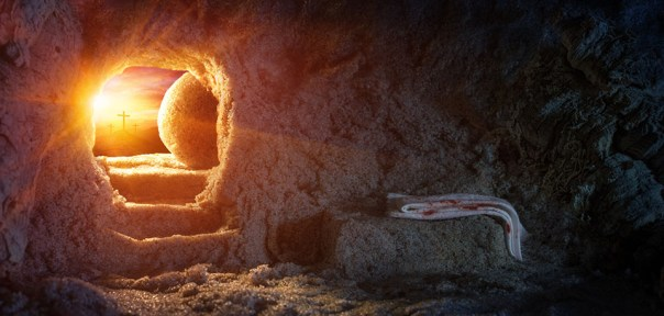 Tomb Empty With Shroud And Crucifixion At Sunrise - Resurrection
