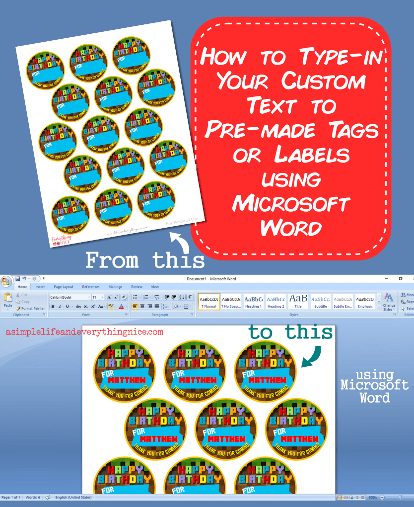 Type in custom text on tags labels with Microsoft Word 0