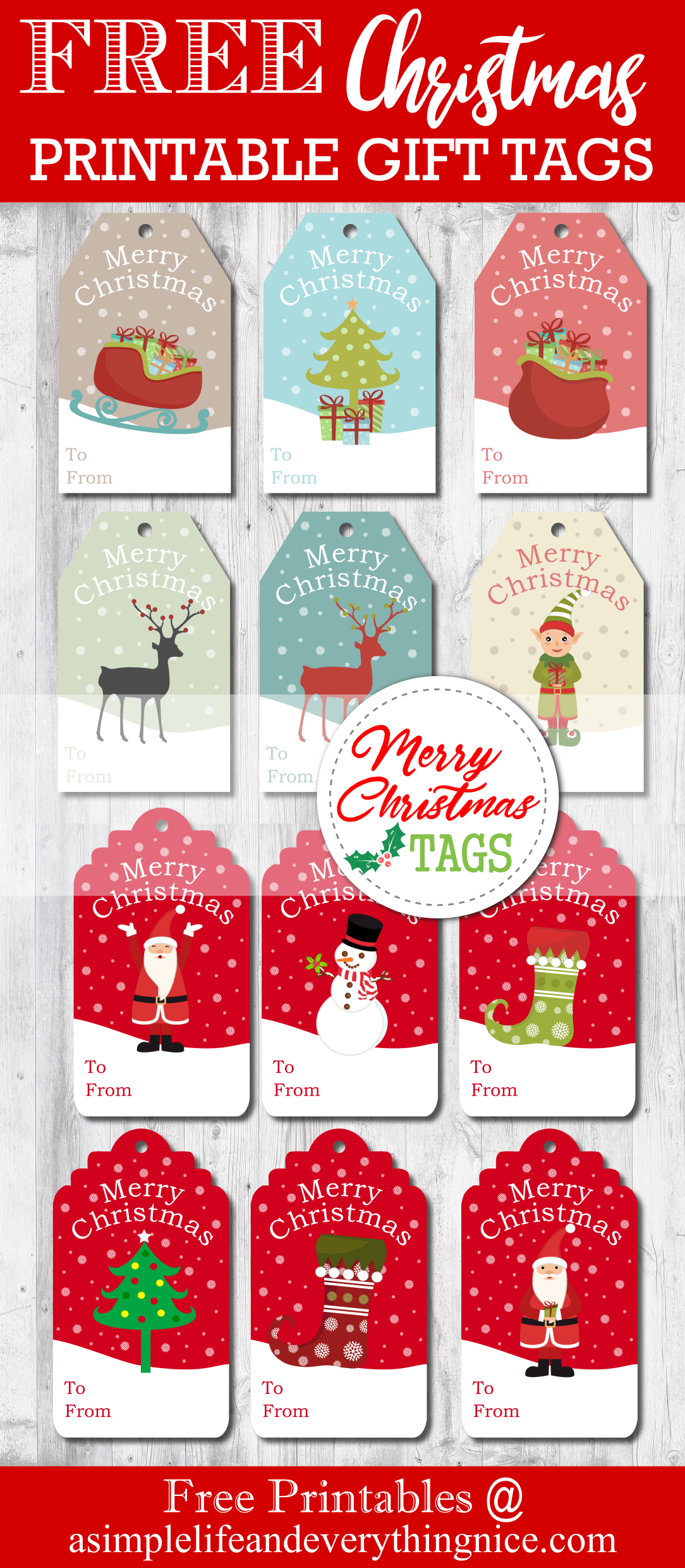 graphic about Free Printable Christmas Name Tags titled Free of charge Printable Xmas Reward Tags - A Uncomplicated Daily life and