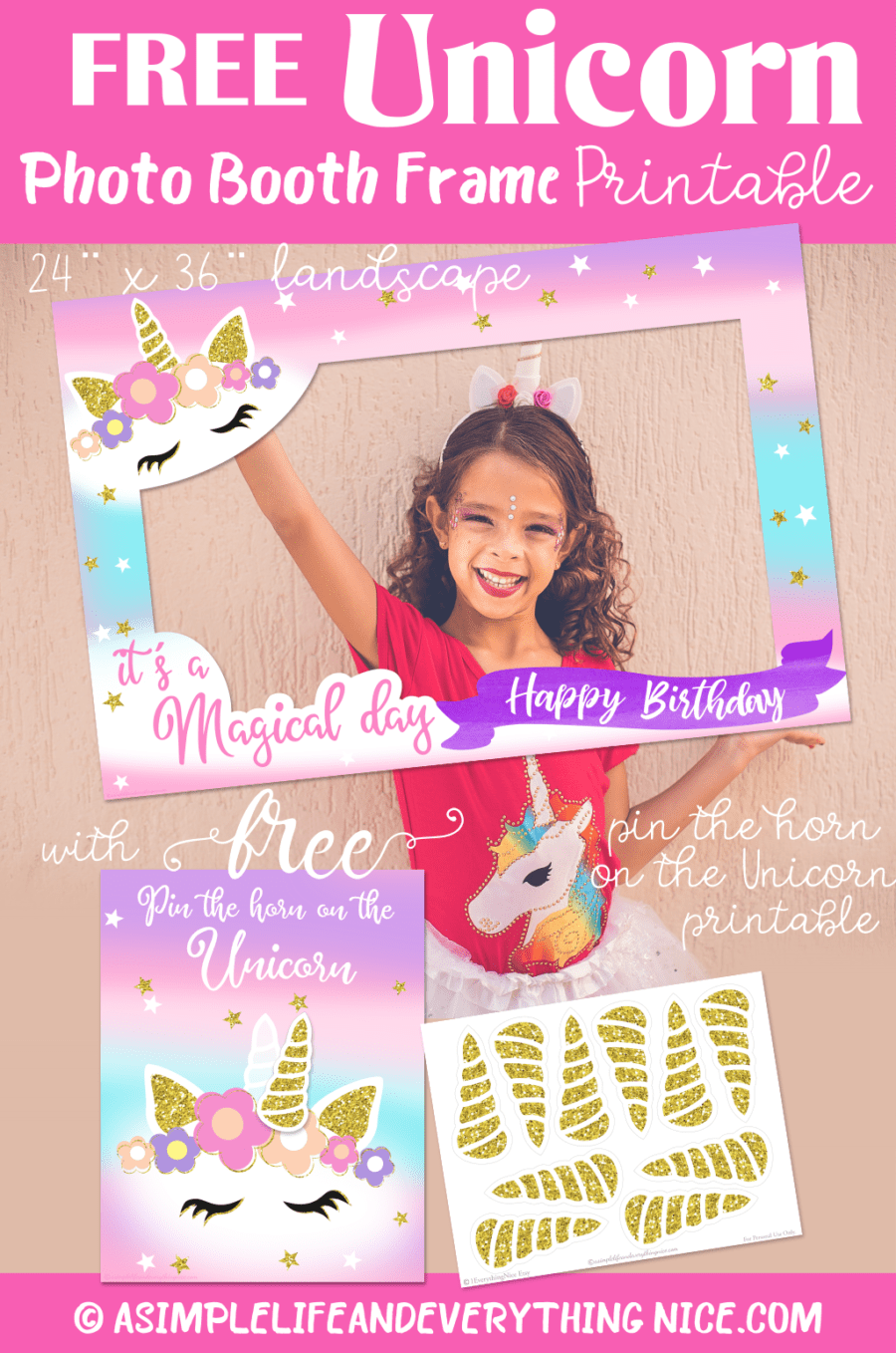 photograph about Selfie Station Sign Free Printable named Totally free Unicorn Picture Booth Body and Pin the Horn upon the