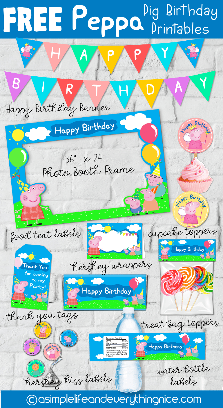 Free Peppa Pig Birthday Party Printables A Simple Life And Everything Nice