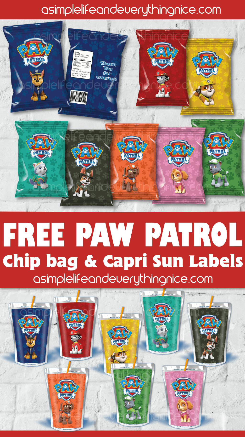 picture relating to Printable Chip Bags identify No cost Paw Patrol Chip Bag Labels and Capri Solar Printable