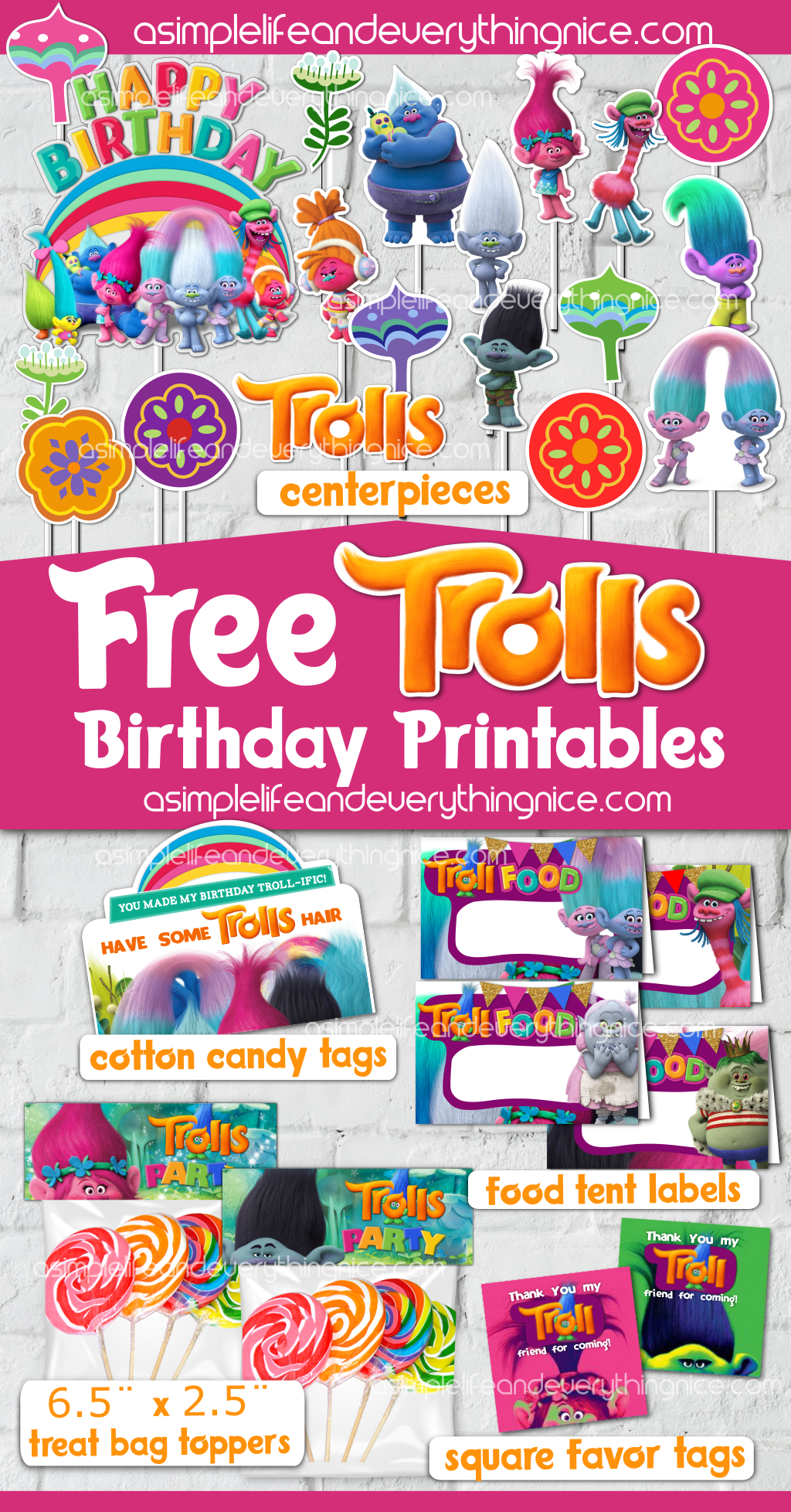 Free Trolls Birthday Party Printables A Simple Life And Everything Nice