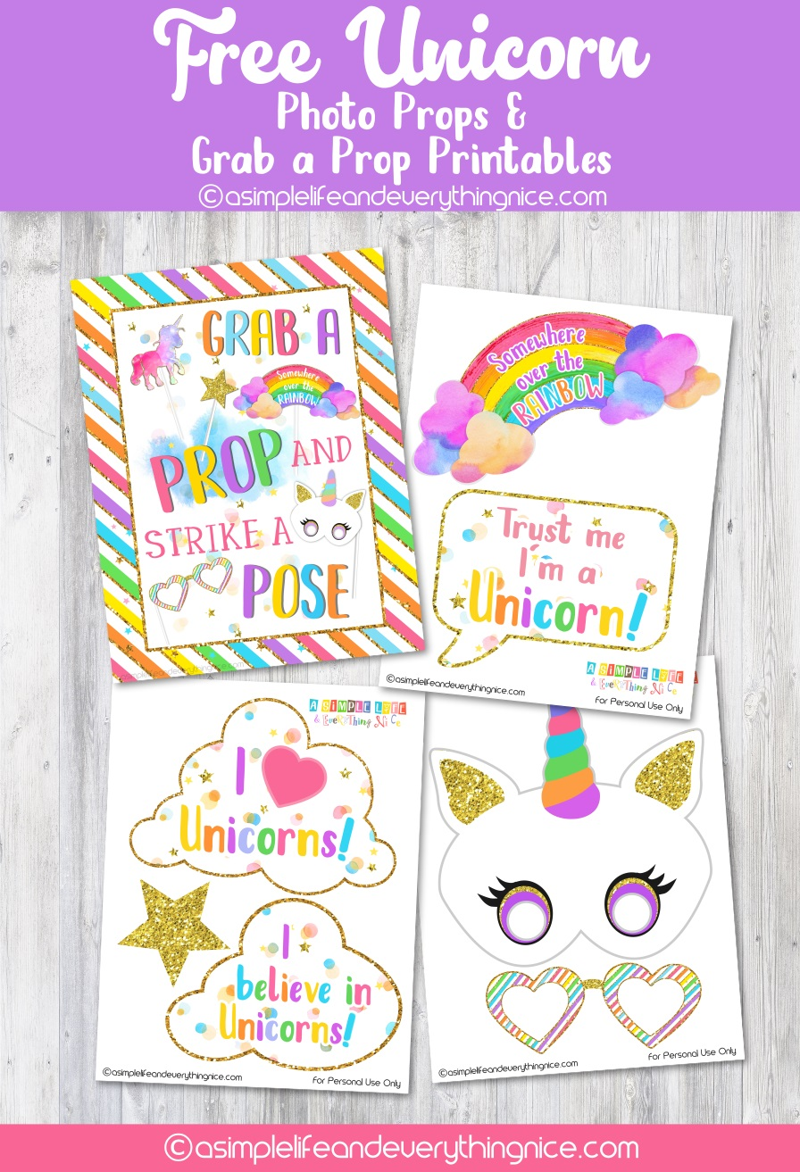 Free Unicorn Photo Props And Grab A Prop Poster Printables A Simple Life And Everything Nice