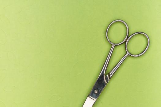 scissors on green background