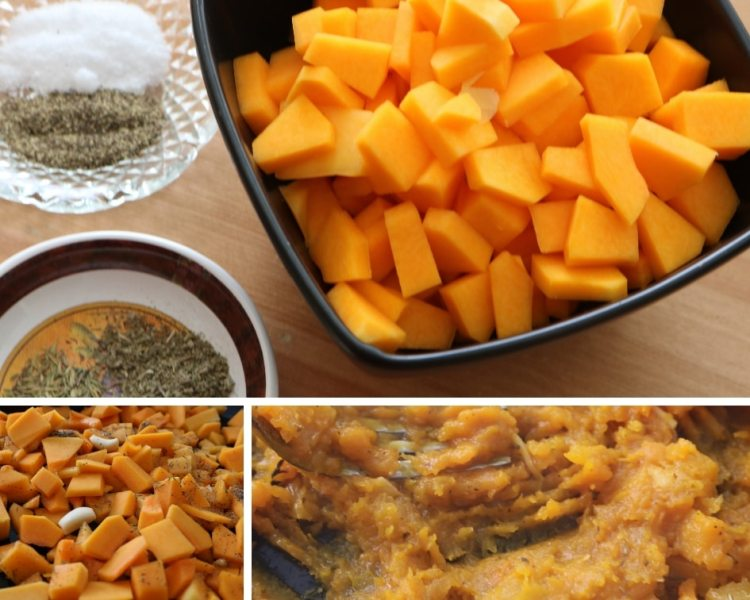 spices, butternut squash diced and mashed for butternut squash vegetarian lasagna