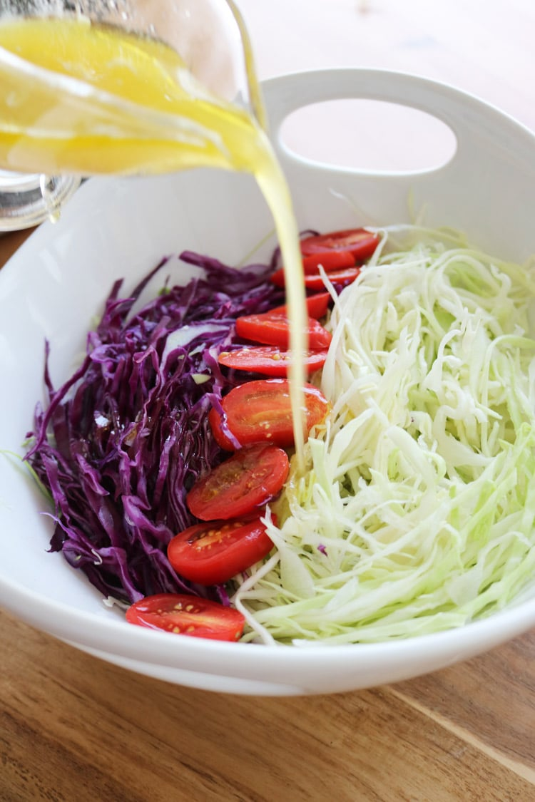 a bowl with cabbage salad