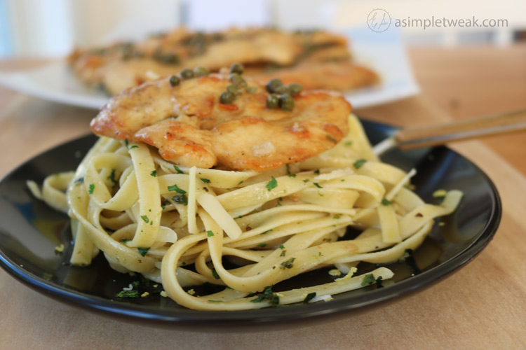 Chicken-Piccata-over-Fettuccini-for-dinner