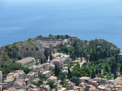 Bird's eye view of Taormina below