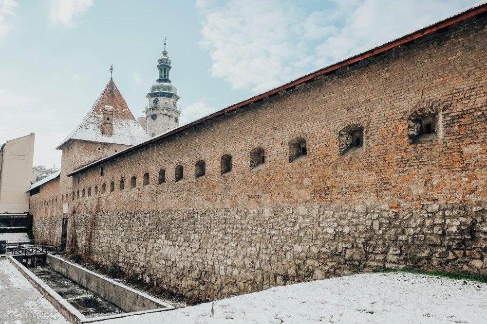 Monastery walls of Church of Bernadine in Lviv