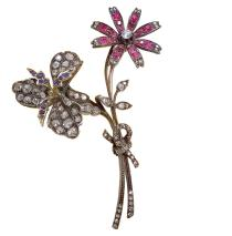 MUS1294_BVLGARI HERITAGE COLLECTION_Brooch in silver with rubies, sapphires and diamonds, 1917