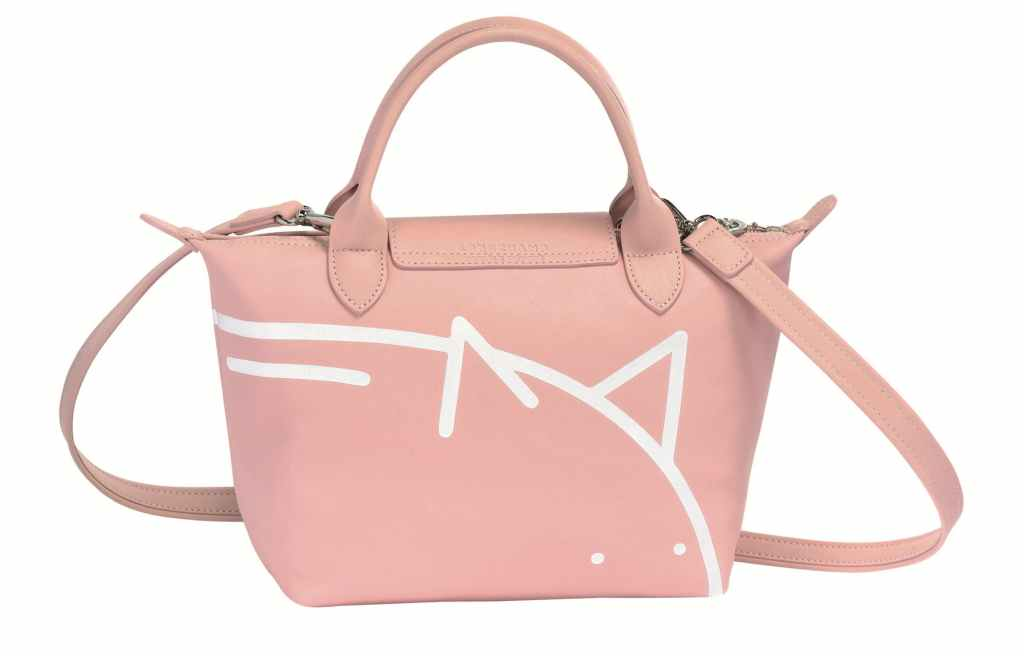 Mr Bags x Longchamp Le Pliage Cuir pinky
