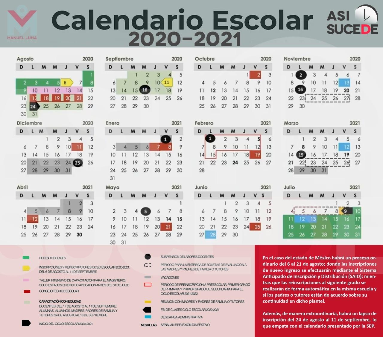 Calendario Escolar 2021 Presentan Calendario Escolar 2020 2021