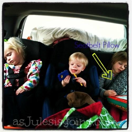 Seatbelt Pillow for Preschoolers in boaster seats
