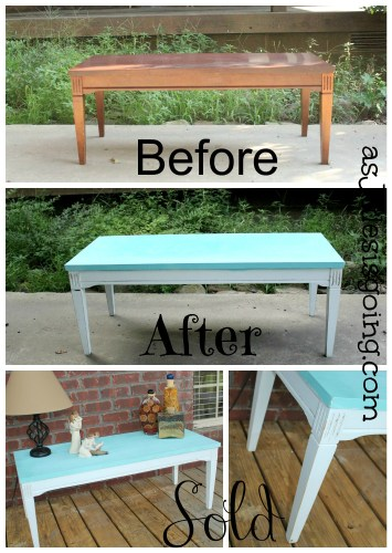 Coffee Table blue & white before after and sold