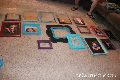 Collage Wall lay them out on the ground to organize & then mark nail holes with waxpaper