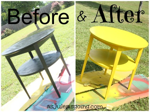End Tables Yellow before and after