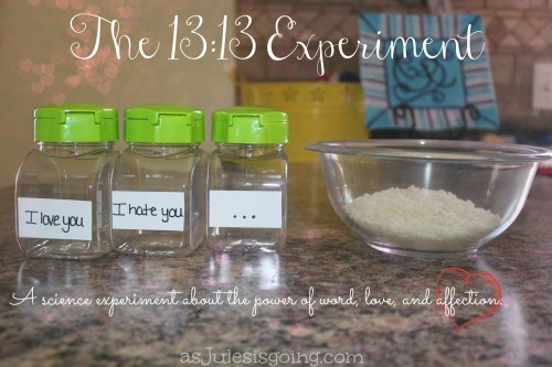 The 1313 Experiment A science experiment about the power of word, love, and affection. This will be part of our February Valentine's Day homeschool unit