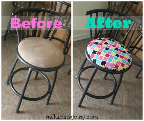 Reupholstering Bar Stools for Newbies (before and after)