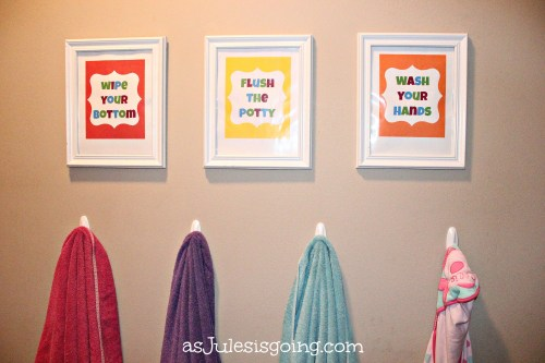 FREE Printables! Kids' Bathroom ArtSigns Wipe Your Bottom, Flush the Potty, Wash Your Hands