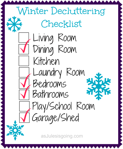 Details PRINTABLE Winter Decluttering Checklist Available on asJulesisgoing.com