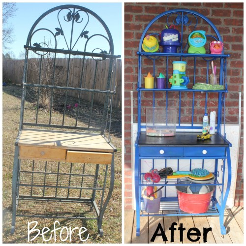 Baker's Rack to Outdoor Toy Storage BEFORE and AFTER