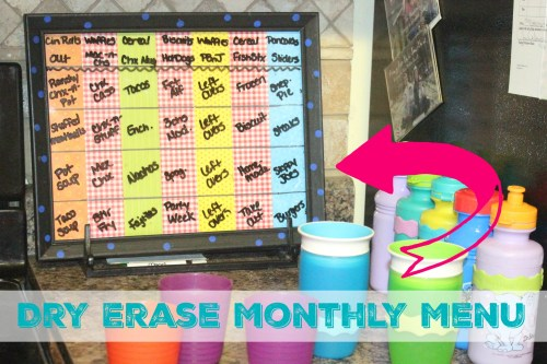 DIY Dry Erase Monthly Menu