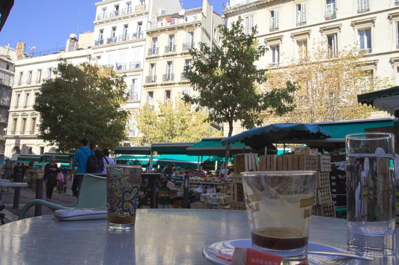 Having a coffee, watching the scene