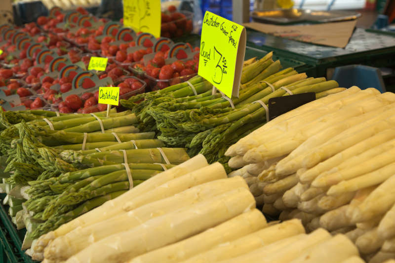 Location location main market in bonn germany food it is asparagus and strawberry season sciox Images