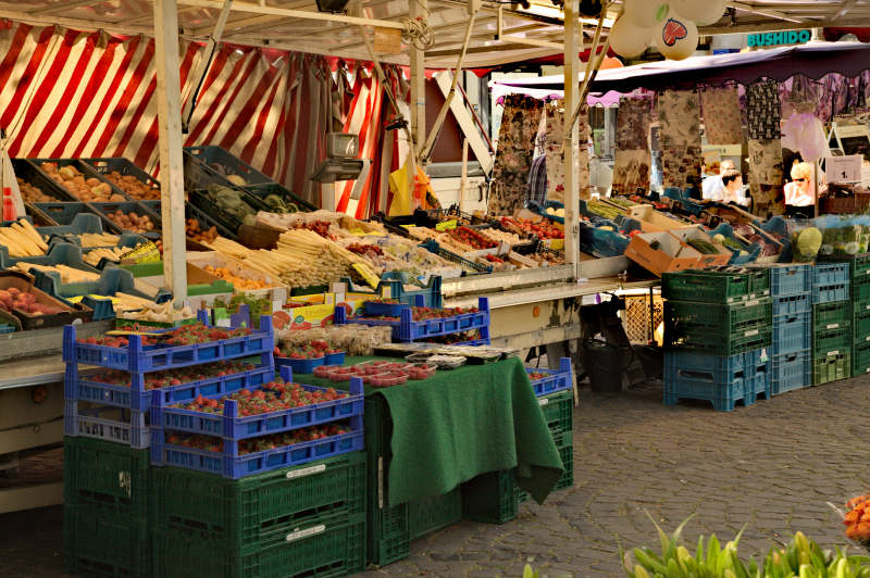 One of the vegetable and fruit stalls