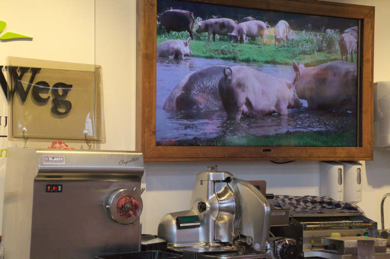Pork TV at the organic butcher