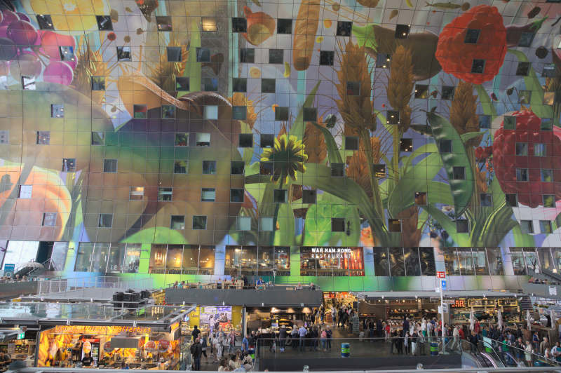 The very impressive ceiling of the Markthal