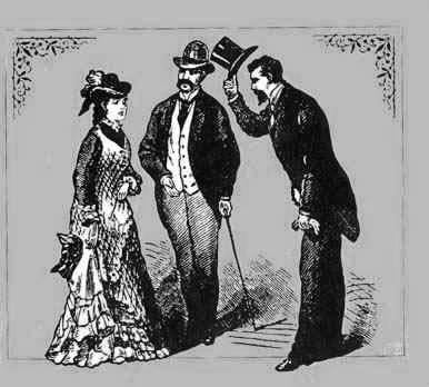 Gentleman tipping his hat at a lady