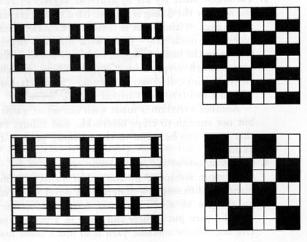Example: Basic weaving pattern for a 2x1 and 2x2 Basket Weave
