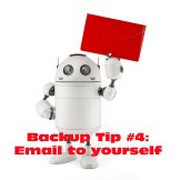 Robot wit red mail. Isolated on white