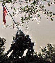 Statue depicting the famous WWII flag raising on the island of Iwo Jima is a tribute to the US Marine Corps.