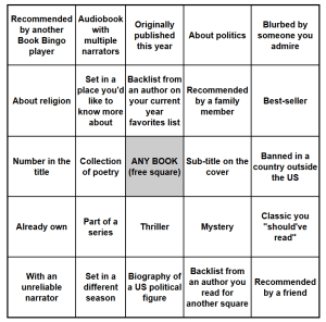 2018 summer book bingo card